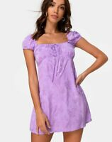 MOTEL ROCKS Gaval Mini Dress in Satin Rose Lilac  (MR97)
