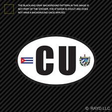 Cuba Oval Sticker Die Cut Decal Cuban Country Code euro CU v6