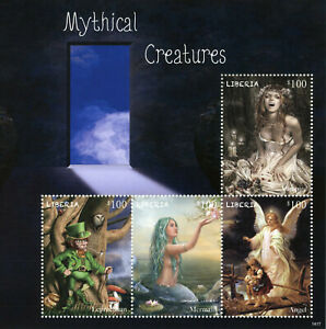 Liberia Stamps 2014 MNH Mythical Creatures Mermaids Leprechaun Vampires 4v M/S
