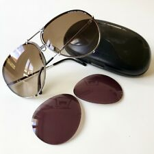 vintage PORSCHE DESIGN 5621 by Carrera sunglasses silver LARGE aviator rare