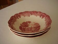 Meakin Chequers Buckinghamshire Pink Cereal Bowls Set of Three FREE SHIPPING.