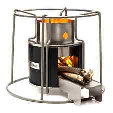 Wood Burning Heater Metal Stove Vintage For Portable Cooking Camping Beach BLACK