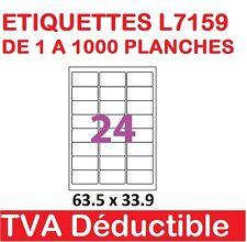 de 1 a 1000 planches de 24 étiquettes Autocollantes 63.5 X 33.9 mm  L7159