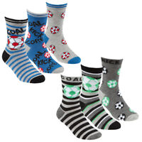 Boys 6 Pairs Bamboo Football  socks sz 6-8.5 9 -12 12-3 Age 2-10 years NEW!