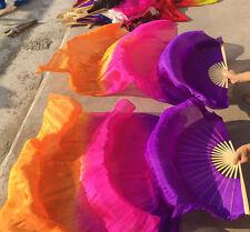 Belly Dance Silk Fan Veil purple+rose+orange 1.8m