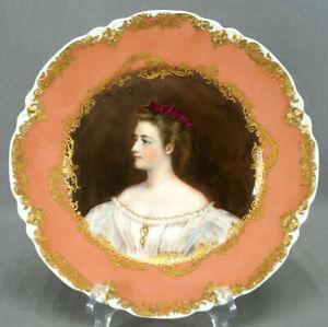 Haviland Limoges Hand Painted Anna Von Greiner Pink & Raised Gold Portrait Plate