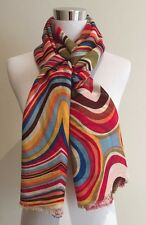 100% Wool Pashmina SCARF SHAWL Multi-Coloured Rainbow