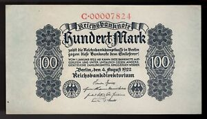 Germany 100  Mark 1922  AU++  PIC#  75, BanknotE.  LOW SERIAL# 00007824