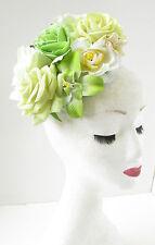 Verde Blanco Marfil Flor De Rosa Tocado Accesorio para pelo floral CARRERAS