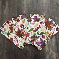 Set of 4 Pier 1 Printed LEAVES Napkins Warm Fall Colors Acorns Purple Orange NWT