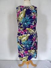 vintage senza maniche floreale vestito a portafoglio Taglia UK 14/EU 42 070 G
