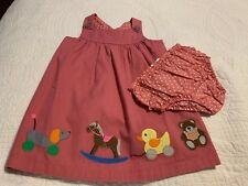 Nwot Baby Boden Pink Applique Toys Pinafore Dress Size 2-3