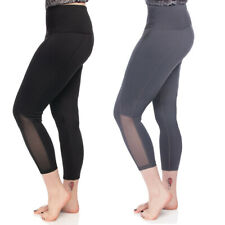 7/8 Length High-Waist Moisture-Wicking UPF 50 Leggings Run Gym Yoga Pants Mesh