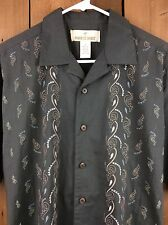 Men's PARADISE SHORES Embroidered Paisley Short Sleeve Putty Shirt Size Medium