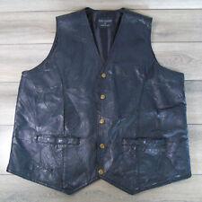 Kens Leather BLACK VEST Mens XL Biker or Western Wear Pigskin Patchwork Snaps!