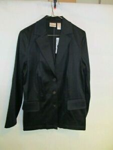 Chicos Size 0 Blazer Black Button New Polished Craft Jacket Pockets Solid Career