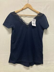 BNWT Next Ladies V Neck Top Navy Blue Lace Trim in Size UK  8 (/003)