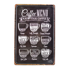 Coffee Menu know your Vintage Tin Signs Metal Plate Cafe Decor Art Wall Poster