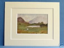 BLEA TARN SHOWER CUMBRIA VINTAGE c1910 DOUBLE MOUNTED PRINT 10X8 HEATON COOPER