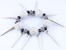 Urban Club Fashion Crystal Bling Disco Fireball & Spike Stretch Bracelet