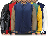 Men's Classic Snap Button Vintage Baseball Letterman Varsity Jacket LMJ