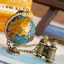 Women's Vintage Mini Earth Globe Binoculars Pendants Necklace Long Chain Natural