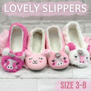 Womens Ladies Indoor Slippers Faux Fur Knitted Fluffy Ballerina Slipper Size 3-8