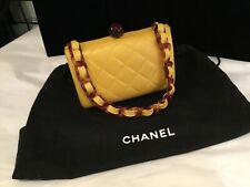 Authentic Signed Numbered Chanel Yellow Quilted & Faux Tortoise Handbag Nr