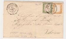 STORIA POSTALE 1863 SARDEGNA C.5+10 VERDE OLIVASTRO + ARANCIO OCRA Z/5491