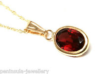 "9ct Gold Garnet Oval Pendant and 18"" chain Made in UK Gift Boxed Necklace"