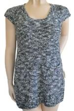 CROSSROADS SZ XL (14-16) WOMENS Grey Speckled Stretch Knit Cap Sleeve Long Top