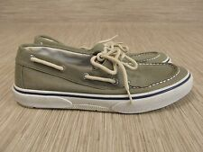 Sperry Top-Sider Green Canvas Shoes Men's Size US 9 M Lace Up Deck Boat Shoes