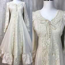 VTG Womens Dress 70's Hippy Muslin Lace Gunne Sax Wedding Dress Black Label