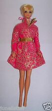 Vintage 1966 PJ Francie Barbie Doll Dressed Hot Pink & Gold Short Dress