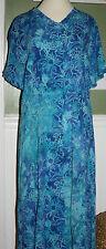 ORVIS Dress Nwot Blue Crinkle Rayon  Long Ladies Sz Medium M cruise beach