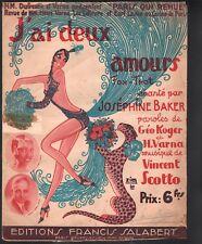 J'ai Deux Amours 1930 Josephine Baker Large Format Sheet Music