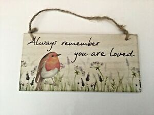 Robin bird nature rectangular wooden hanging plaque gift cute Free P & P