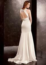 NWT $828 VERA WANG White Satin Gown With Sash Vw351186 Wedding Dress Sz 0 RARE