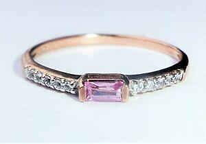 9ct Rose Gold Baguette Pink Topaz & Spinel Slim Band Ring, Size N - N1/2