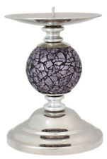 Lilac Plum Purple Mosaic Sparkle One Ball Candlestick Decorative Candle Holder