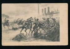Russia massacre of factory workers artist drawn vintage PPC