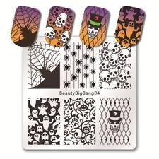 Arte en uñas placa de imagen Planchas para Estampar Halloween Bruja Calavera Murciélagos Arañas Web BB04