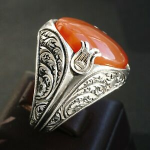 925 Sterling Silver Mens Ring Carnelian genuine Aqeeq Yemen stone Unique Jewelry