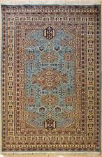 Rugstc 5x8 Caucasian Design Blue  Rug, Hand-Knotted,Geometric with Silk/Wool