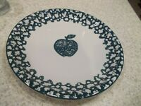 "1 Folkcraft Tienshan 12"" Chop Plate Round Platter Apple Green Sponge White"