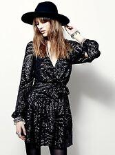 NEW Free People black mesh & dark gunmetal sequin Side Tie Wrap Mini Dress S