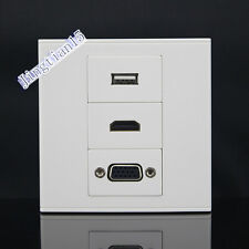 Wall Socket Plate 3 Port One USB & One VGA & One HDMI Wall Plate Panel Faceplate
