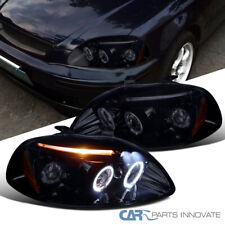 Glossy Black Fit Honda 96-98 Civic 2/3/4Dr Tinted LED Halo Projector Headlights