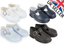 New Babies Boys Baypods Matt T-bar Hard Sole First Walker Christening Shoes H501