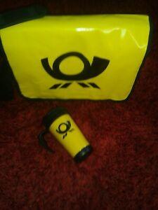 Umhängetasche Bag, LOGO,NEU/OVP Laptoptasche Deutsche Post WETTERFEST+Thermo-cup